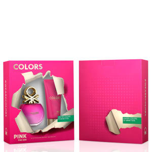 Kit Perfume Colors Pink Feminino Benetton Edt 80ml + Body Lotion 75ml - R$63