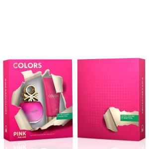 Kit Perfume Colors Pink Feminino Benetton Edt 80ml + Body Lotion 75ml - R$63