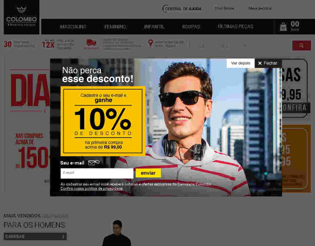 Camisaria Colombo - Cupom De 10% De Desconto Nas Compras Acima De R$99