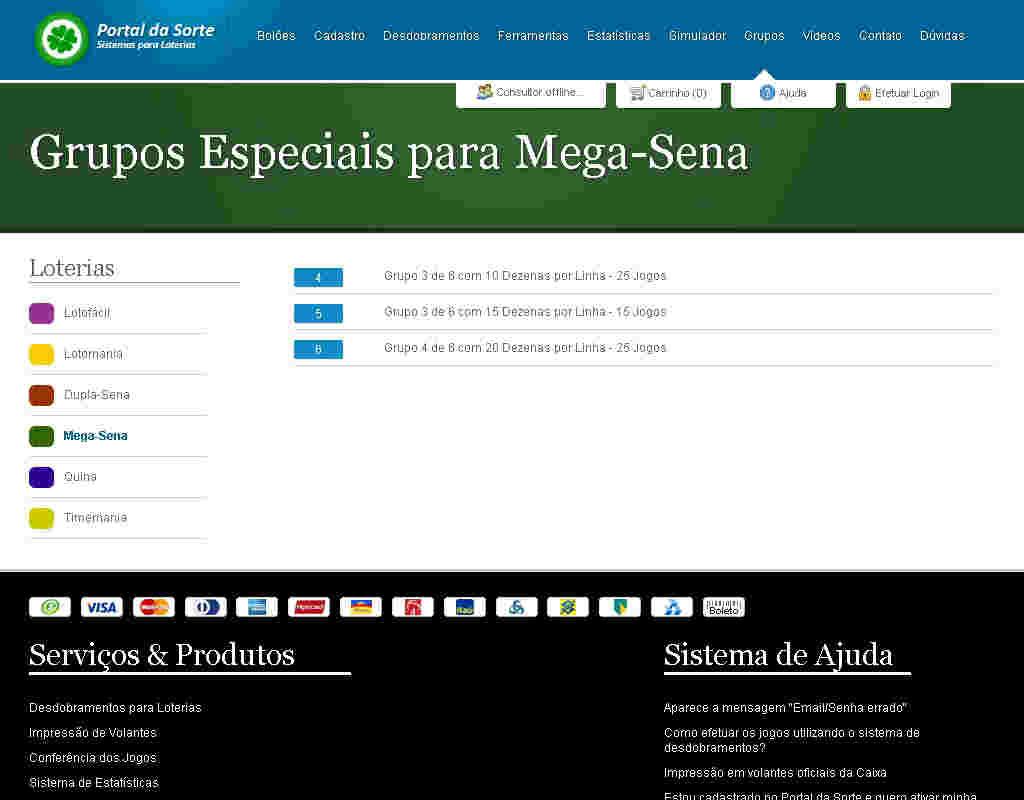 Grupos Especiais Para Megasena, Lotofacil Etc