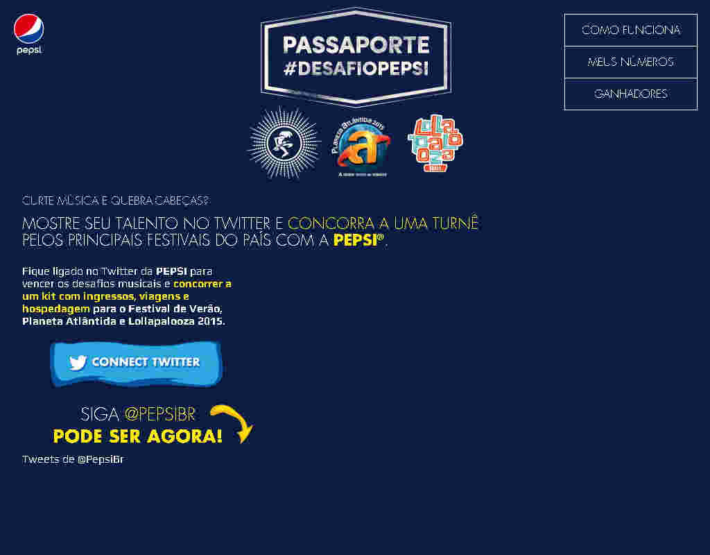 Promoção Desafio Passaporte Musical Pepsi