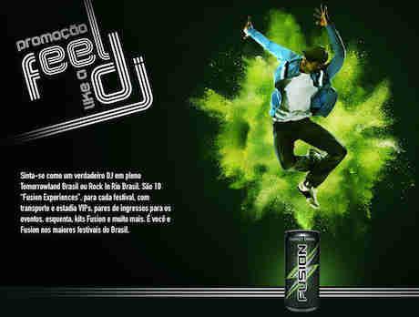 Promoção Fusion Energy Drink Feel Like A Dj
