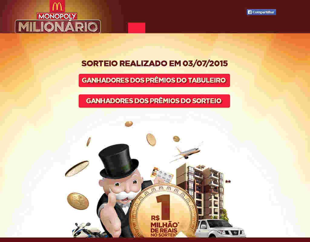 Promoção Mcdonalds Milionário Monopoly