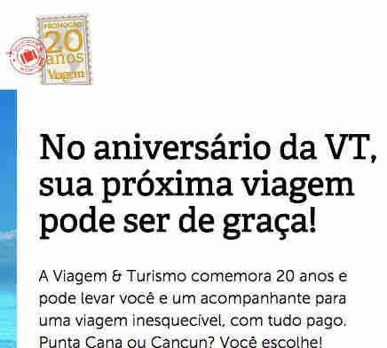 Promoção 20 Anos Viagem E Turismo