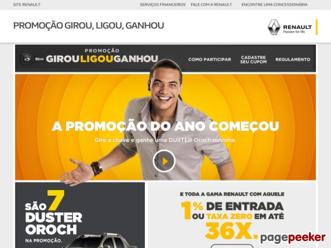 Promoção Renault Girou Ligou Ganhou