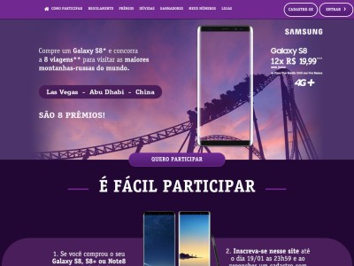 Promoção Samsung Galaxy S8 Viagens